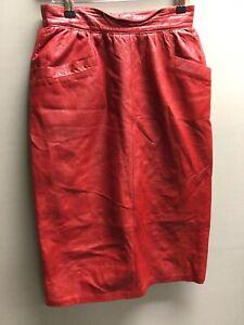 Vintage Red Leather Midi Skirt UK 8/10