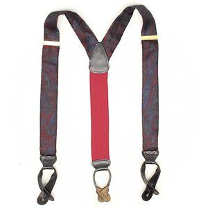 Trafalgar Mens Silk Braces Suspenders Burgundy Blue Green Paisley Woven Leather
