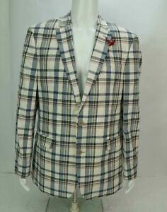 NWT Tommy Hilfiger Mens Plaid Check Two Button Sport Coat Blazer Multicolor 44R