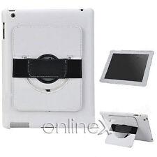 Funda Piel para iPad 2, 3, 4, 10.1 con Soporte Rotatorio BLANCO a756