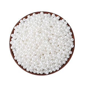 100 5mm White Faux Pearl Beads Round Pearl Beads Crafts Sewing Jewellery