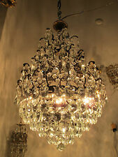Antique Vnt French HUGE Basket /Cage Crystal Chandelier Lamp 1940's 18in dmtr**-