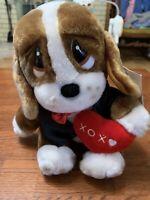"Sad Sam Puppy Dog Plush Stuffed Animal Toy 7"" XOX Heart Valentines Day"