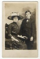 121520 VINTAGE RPPC REAL PHOTO POSTCARD WOMAN IN GREAT HAT AND SON ST PAUL MN