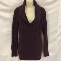 Nordstrom Caslon Women's Purple Cowl Neck Cable Knit Sweater Medium