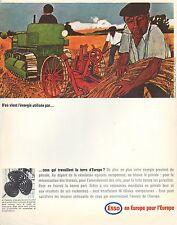 PUBLICITE  ESSO  STATION SERVICE MOTOR OIL TRACTEUR AGRICOLE MOISSON  AD  1965