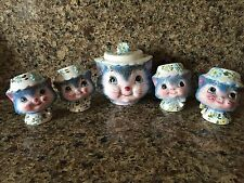 VTG antique Miss Priss Kitty Cat Cookie Jar & Salt Pepper Shakers Japan Lefton