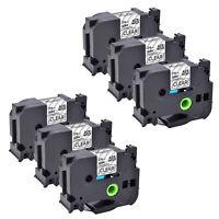 6 Schwarz/Clear Etiketten Kompatibel mit Brother  TZ151 TZ151 PT-E500 24mm