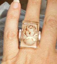 Sobral Rosas Buquet Realistic Ivory Rose Inclusion Ring Size 7.5 Brazil Import