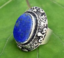 Lapis Lazuli Stone Ring Afghan Ethnic Kuchi Tribal Carved Festive Boho Jewelry