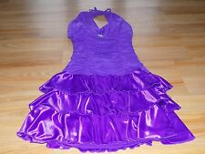 Junior Size Medium XOXO Royal Purple Satin Tiered Skirt Semi Formal Halter Dress