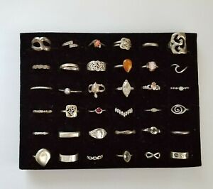 Vintage Now Sterling Silver Ring Lot 36 Various Sizes Stones Designs Not Scrap