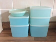 6x Vintage Tupperware Plastic Containers Tubs Boxes Pastel Blue With Lids