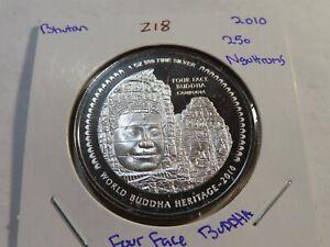 Z18 Bhutan 2010 Silver 1 Oz. 250 Ngultrums 4 Face Buddha Enameled Proof
