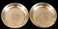 ANTIQUE SMALL HAMMERED STERLING SILVER MONOGRAMMED GMB COASTERS DISHES PLATES