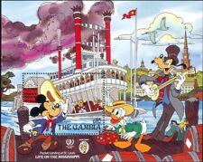 Gambia 1985 Disney/Mickey/River Boat/Twain/Cartoons/Animation 1v m/s (n26740)
