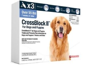 CrossBlock II Once a Month Topical Flea Prevention for Dogs over 55lbs 3pack