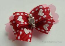 PrattvilleUSA Dog Bow ~ 5/8 ~ Valentines Day ~ Shih Tzu Top Knot Yorkie Hair Bow