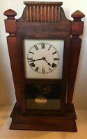 Antique Wood Shelf Clock Works! Nice!