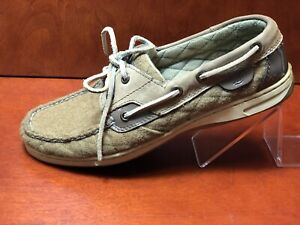 Sperry Womens Size 8.5 M Top-Sider Tan Quilted Patent Leather Boat Shoes Loafers