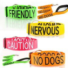 Warning - Friendly, Nervous, Caution, No Dogs Dog Collar OR Lead Small-XLarge