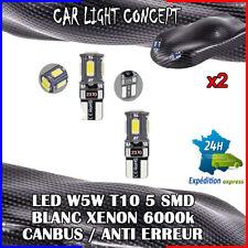 2 x ampoule veilleuse Feu  LED W5W T10 BLANC XENON 6000k voiture auto moto 5 smd
