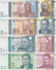 Tajikistan  P14-21 Banknote set 1-3-5-10-20-50-100-200 Somoni 1999-2010, UNC