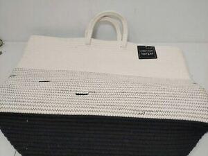 Mesa Cotton Rope Hamper, White & Black, 17″ D x 21″ H Woven Rope Handles Spot-