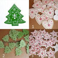 50Pcs Green 2 Holes Crafts Christmas Tree Heart Star Shape Wooden Buttons