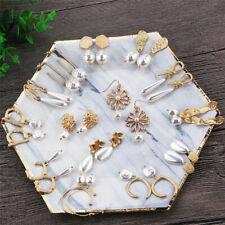 Gift Geometric Irregular Circle Baroque Pearl Earrings Metal Gold Drop Dangle