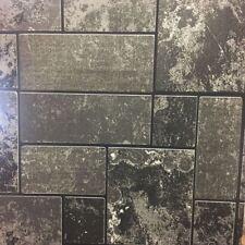 Kitchen Bathroom Brick Effect Wallpaper TileStone Black Glitter Embossed Vinyl
