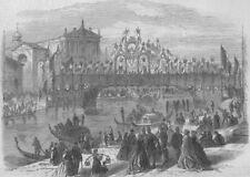 VENICE. Victor Emmanuel II. Decorated bridge over the Grand Canal, print, 1866