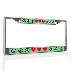 License Plate Frame Vinyl Insert Peace Symbol with Red Hearts and Music Clefs