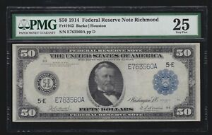 US 1914 $50 FRN Richmond District FR 1042 PMG 25 Ch VF (560)