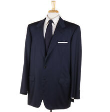 NWT $6400 BRIONI Solid Navy Blue Extrafine Year-Round Wool Suit 48 L