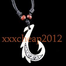 cool Yak Bone Maori Matau Fish Hook Pendant Necklace RH051