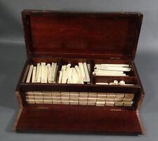 1920's Vintage Antique Chinese Mah Jong Game set Tow Tone 144 tiles Mahogany box