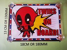 Superheroes Deadpool twins On Board Car Laminated Sign