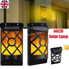 2 Pack Solar Wall Light Flashing Flame 66 LED Waterproof Outdoor Garden Lighting
