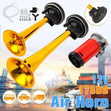 Gold 12V 178dB Super-Loud Air Horn Dual Trumpet Compressor Car Truck Train Boat