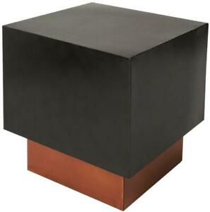 END TABLE SIDE CONTEMPORARY SQUARE METALWORKS COPPER BLACK DISTRESSED GOLD