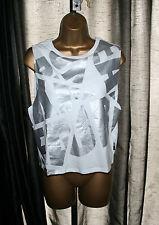 BNWT Izzue Women's Girls White Laser Foil Cotton Tank Top Sz XS