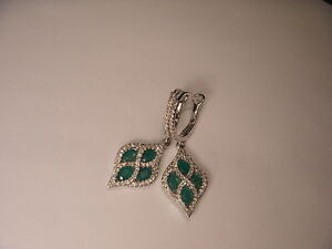 Gorgeous 14K White Gold Diamond Emerald Drop Hanging Earrings