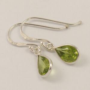 Natural Green PERIDOT Pear Gemstones Cute Drop Earrings 925 Sterling Silver