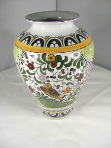 Beautiful Large Jar Decorated in Greens,Golds,Oranges & Burgundy w/Bird as Focus