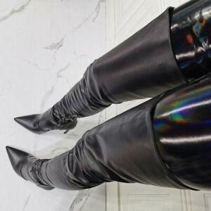 Ladies High Heel Zip Stiletto Pointy Sexy Over Knee Thigh High Boots Nightclub