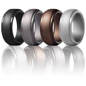 4X Silicone Wedding Engagement Ring Men Women Rubber Band Gym Sport Flexible