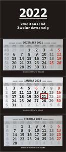 XXL 3-Monatskalender 2022 schwarz großer Wandkalender Bürokalender Monate black