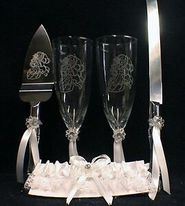 Beauty and the Beast Disney Wedding Theme Gift Lot Glasses and Knife server Set