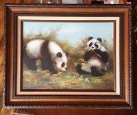 Vintage OIL PAINTING PANDAS Signed By Artist Framed Playful Original Bears